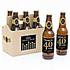 Adult 40th Birthday - Gold - 6 Custom Beer Bottle Labels and 1 Carrier - Birthday Gift
