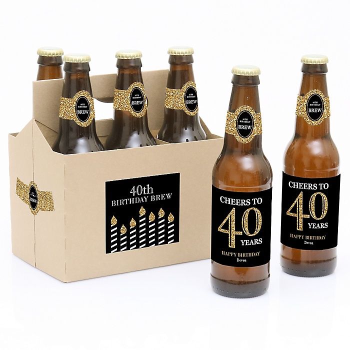 Adult 40th Birthday - Gold - Decorations for Women and Men - 6 Beer Bottle Labels and 1 Carrier - Birthday Gift