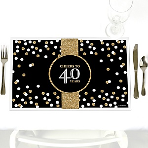 Adult 40th Birthday - Gold - Party Table Decorations - Birthday Party Placemats - Set of 12