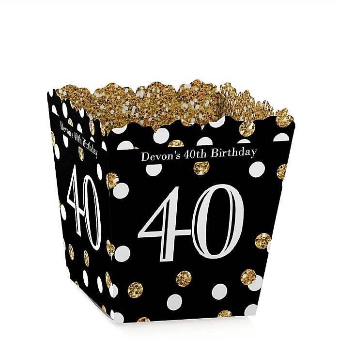 Adult 40th Birthday - Gold - Party Mini Favor Boxes - Personalized Birthday Party Treat Candy Boxes - Set of 12