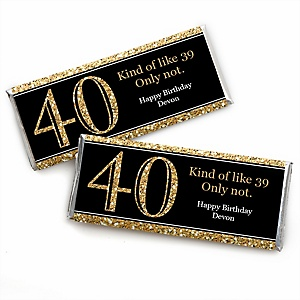 Adult 40th Birthday - Gold - Personalized Candy Bar Wrappers Birthday Party Favors - Set of 24