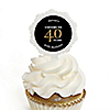 Adult 40th Birthday - Gold - Personalized Birthday Party Cupcake Pick and Sticker Kit - 12 ct
