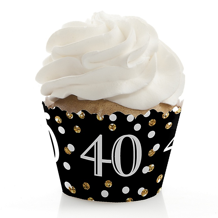 Adult 40th Birthday - Gold - Birthday Decorations - Party Cupcake Wrappers - Set of 12