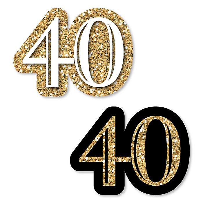 Adult 40th Birthday - Gold - DIY Shaped Party Paper Cut-Outs - 24 ct
