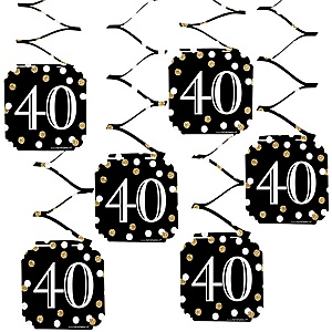 Adult 40th Birthday - Gold - Birthday Party Hanging Decorations - 6 ct