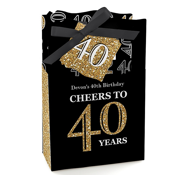 Adult 40th Birthday - Gold - Personalized Birthday Party Favor Boxes - Set of 12