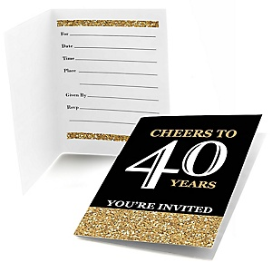 Adult 40th Birthday - Gold - Birthday Party Fill In Invitations - 8 ct