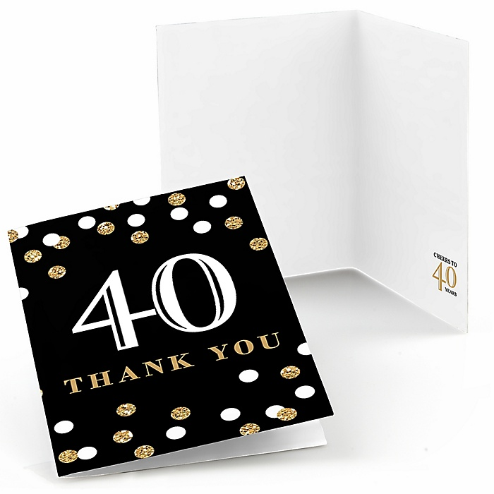 Adult 40th Birthday - Gold - Birthday Party Thank You Cards - 8 ct