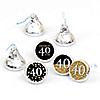 Adult 40th Birthday - Gold - Round Candy Labels Birthday Party Favors - Fits Hershey's Kisses - 108 ct