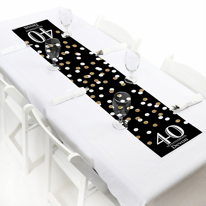 Adult 40th Birthday - Gold - Personalized Birthday Party Petite Table Runner