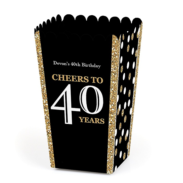 Adult 40th Birthday - Gold - Personalized Birthday Party Popcorn Favor Treat Boxes - Set of 12