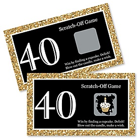 Adult 40th Birthday - Gold - Birthday Party Game Scratch Off Cards - 22 ct