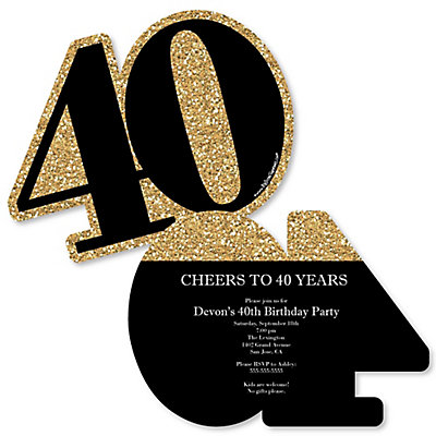Adult 40th birthday gold shaped birthday party invitations set adult 40th birthday gold shaped birthday party invitations set of 12 bigdotofhappiness filmwisefo