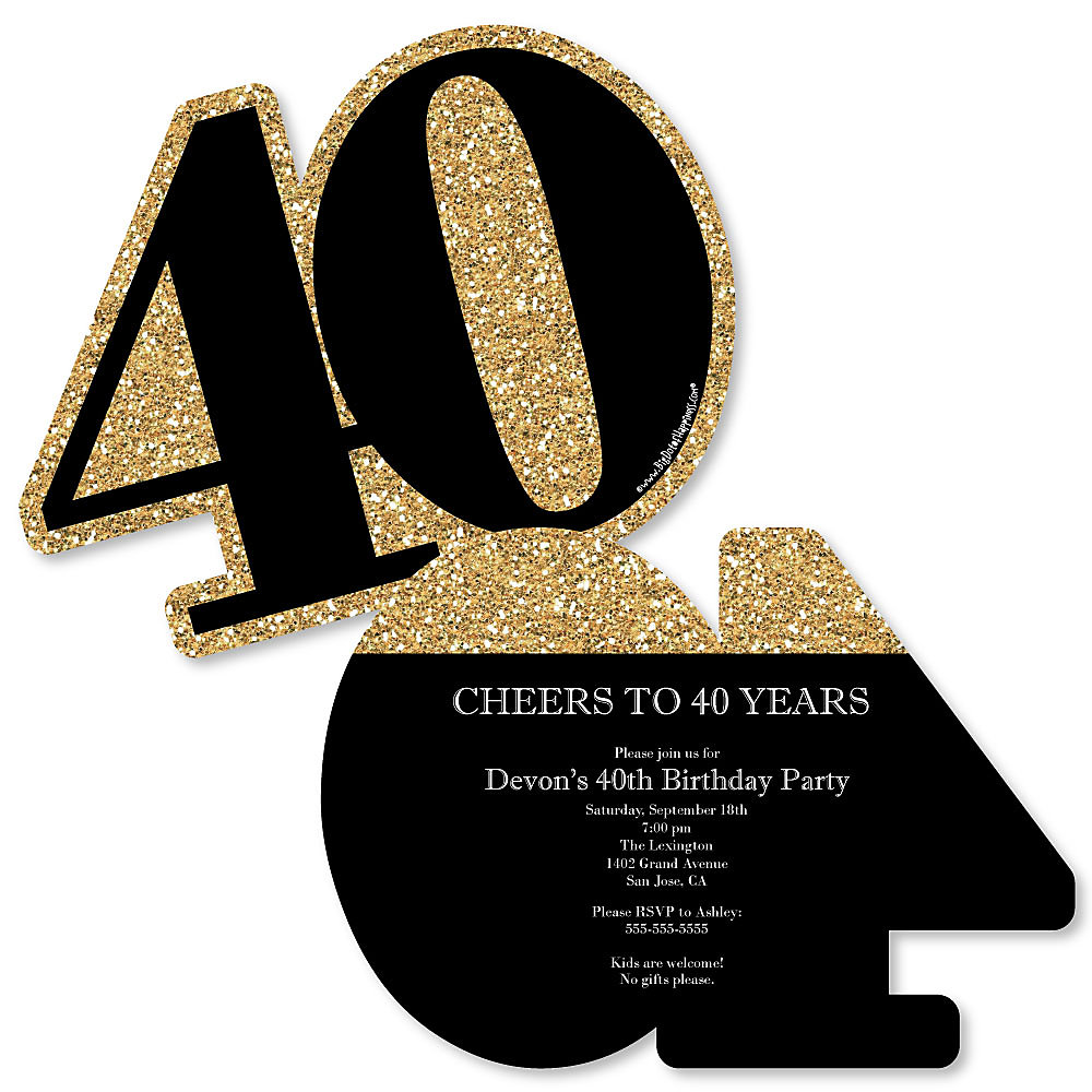 Adult 40th birthday gold shaped birthday party invitations set more views adult 40th birthday gold shaped birthday party invitations filmwisefo