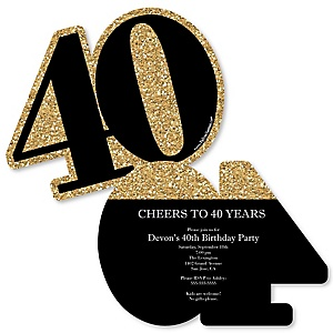 Adult 40th Birthday - Gold - Shaped Birthday Party Invitations - Set of 12