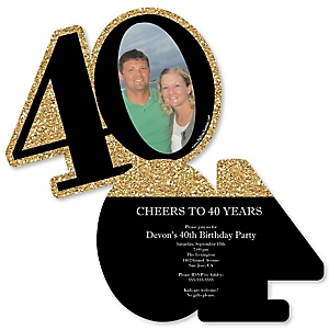 Adult 40th Birthday - Gold - Personalized Shaped Photo Birthday Party Invitations - Set of 12