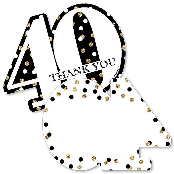 Adult 40th Birthday - Gold - Shaped Thank You Cards - Birthday Party Thank You Note Cards with Envelopes - Set of 12