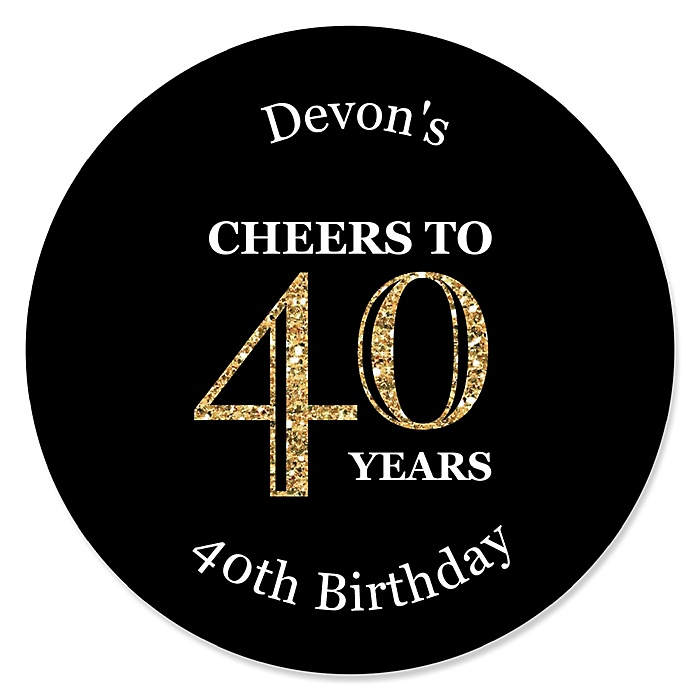 Adult 40th Birthday - Gold - Personalized Birthday Party Sticker Labels - 24 ct