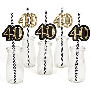 Adult 40th Birthday - Gold - Paper Straw Decor - Birthday Party Striped Decorative Straws - Set of 24