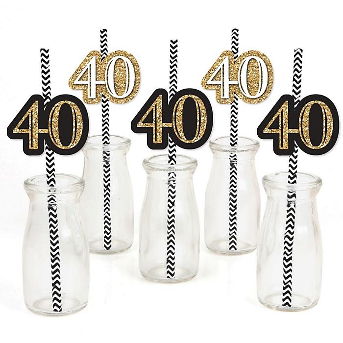 Adult 40th Birthday - Gold - Paper Straw Decor - Birthday Party Striped Decorative Straws - Set of 24