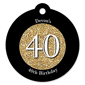 Adult 40th Birthday - Gold - Round Personalized Birthday Party Tags - 20 ct