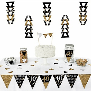 Adult 40th Birthday - Gold -  Triangle Birthday Party Decoration Kit - 72 Piece