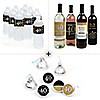 Adult 40th Birthday - Gold - Birthday Party Decorations & Favors Kit - Wine, Water and Candy Labels Trio Sticker Set