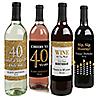 Adult 40th Birthday - Gold - Custom Wine Bottle Label Birthday Gift - Set of 4