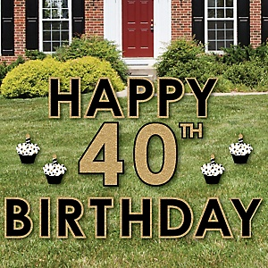 Happy 40th Birthday - Gold - Yard Sign Outdoor Lawn Decorations - Adult 40th Birthday Yard Signs