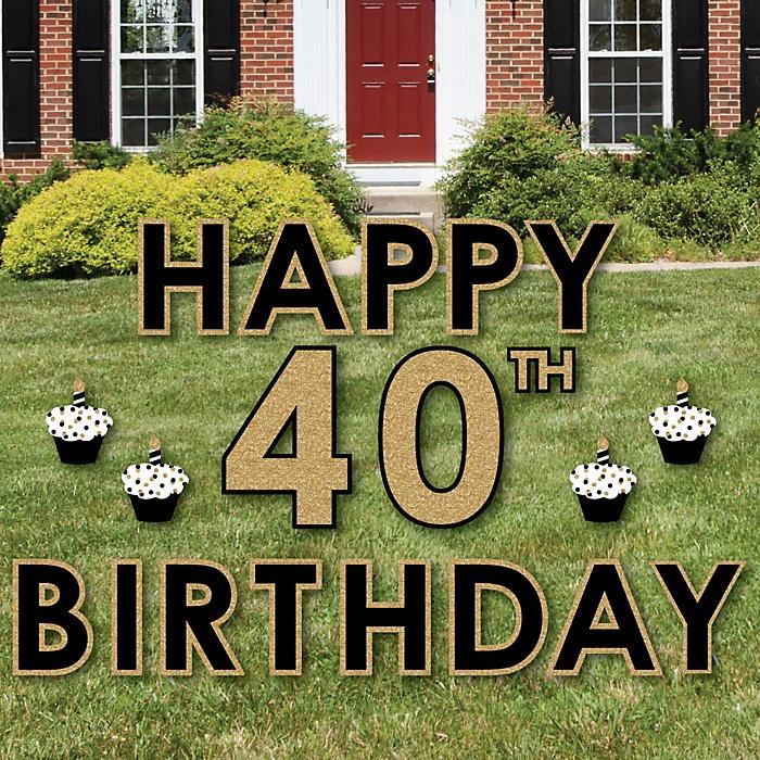 Happy 40th Birthday - Gold - Yard Sign Outdoor Lawn Decorations - Adult 40th Birthday Yard Signs