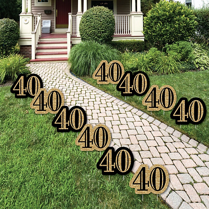 Adult 40th Birthday - Gold Lawn Decorations - Outdoor Birthday Party Yard Decorations - 10 Piece