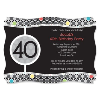 Adult 40th Birthday Personalized Birthday Party Invitations