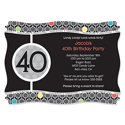 Adult 40th Birthday Personalized Birthday Party Invitations – 40th Birthday Party Invitations