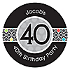 Adult 40th Birthday - Personalized Birthday Party Sticker Labels - 24 ct