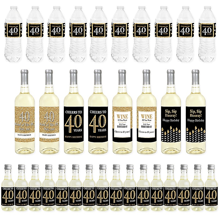 Adult 40th Birthday - Gold - Mini Wine Bottle Labels, Wine Bottle Labels and Water Bottle Labels - Birthday Party Decorations - Beverage Bar Kit - 34 Pieces