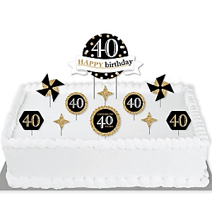Adult 40th Birthday - Gold - Birthday Party Cake Decorating Kit - Happy Birthday Cake Topper Set - 11 Pieces