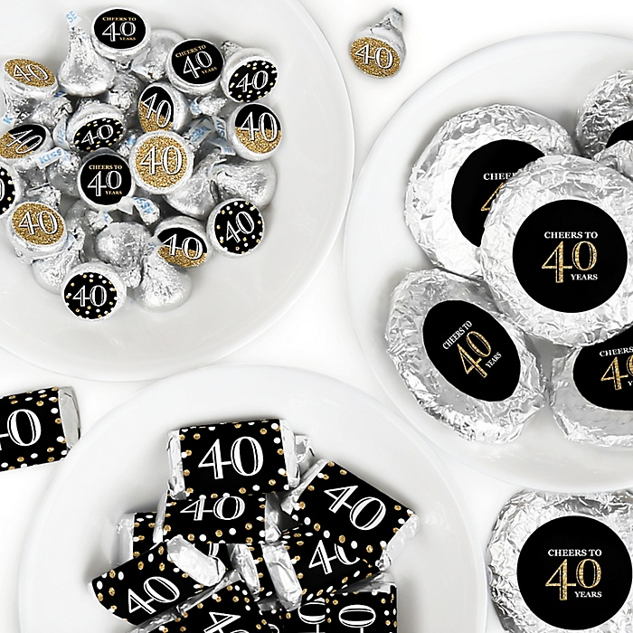 Adult 40th Birthday - Gold - Mini Candy Bar Wrappers, Round Candy Stickers and Circle Stickers - Birthday Party Candy Favor Sticker Kit - 304 Pieces