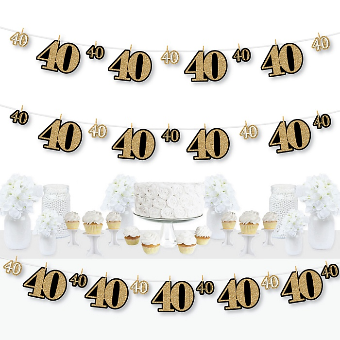 Adult 40th Birthday - Gold - Birthday Party DIY Decorations - Clothespin Garland Banner - 44 Pieces