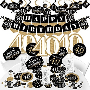 Adult 40th Birthday - Gold - Birthday Party Supplies - Banner Decoration Kit - Fundle Bundle