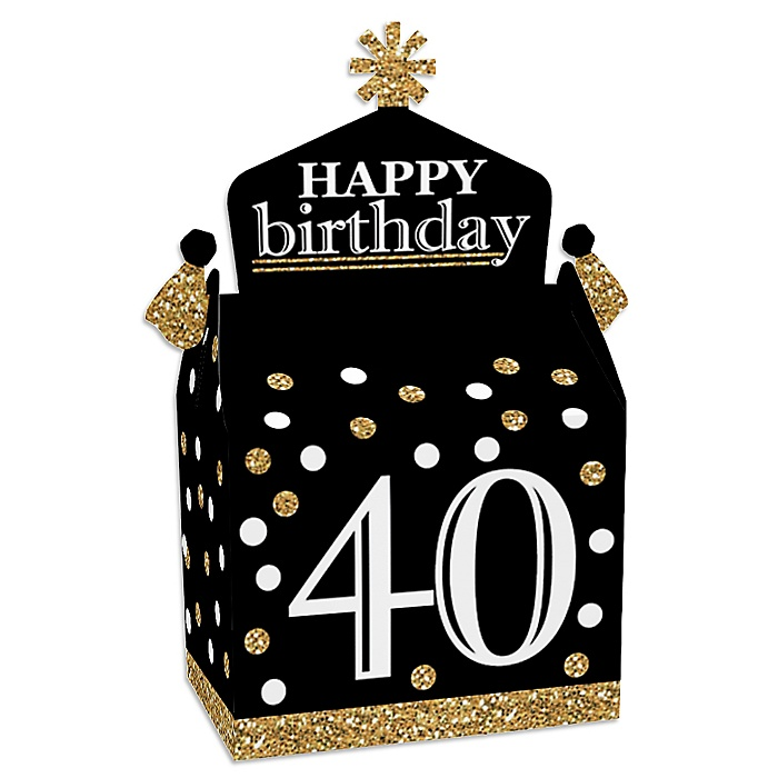 Adult 40th Birthday - Gold - Treat Box Party Favors - Birthday Party Goodie Gable Boxes - Set of 12