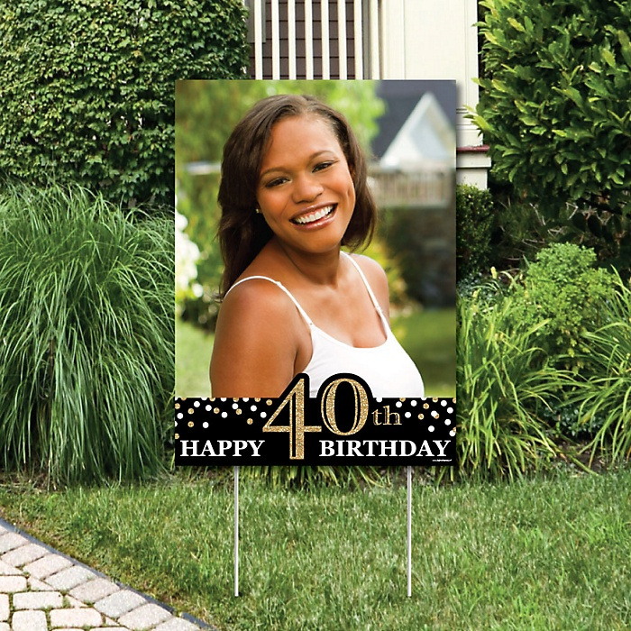 Adult 40th Birthday - Gold - Photo Yard Sign - Birthday Party Decorations