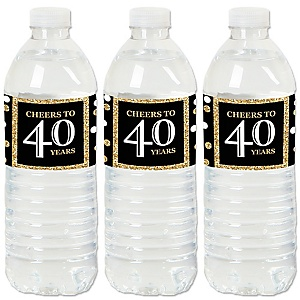 Adult 40th Birthday - Gold - Birthday Party Water Bottle Sticker Labels - Set of 20