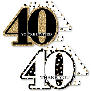 Adult 40th Birthday - Gold - 20 Shaped Fill-In Invitations and 20 Shaped Thank You Cards Kit - Birthday Party Stationery Kit - 40 Pack