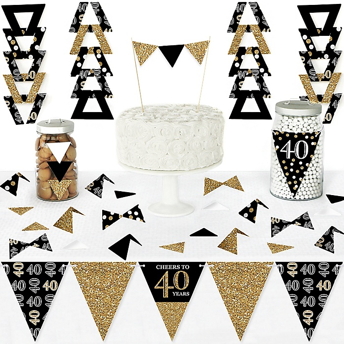 Adult 40th Birthday - Gold - DIY Pennant Banner Decorations - Birthday Party Triangle Kit - 99 Pieces