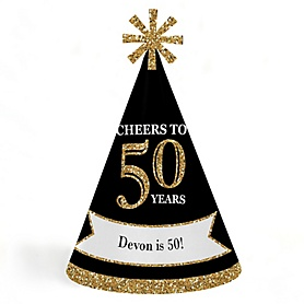 Adult 50th Birthday - Gold - Personalized Cone Happy Birthday Party Hats for Kids and Adults - Set of 8 (Standard Size)