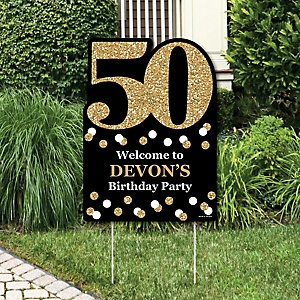 Adult 50th Birthday - Gold - Party Decorations - Birthday Party Personalized Welcome Yard Sign