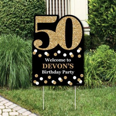 Adult 50th Birthday - Gold - Party Decorations - Birthday Party Personalized Welcome Yard Sign & Adult 50th Birthday - Gold - Birthday Party Theme ...