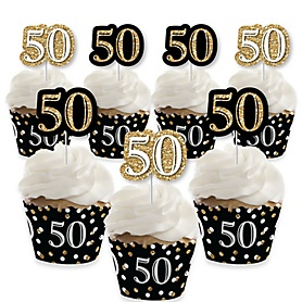 Adult 50th Birthday - Gold - Cupcake Decorations - Birthday Party Cupcake Wrappers and Treat Picks Kit - Set of 24