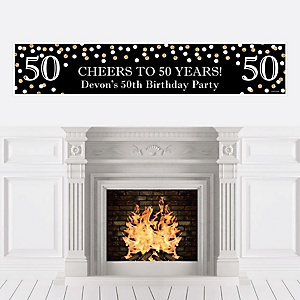 Adult 50th Birthday - Gold - Personalized Birthday Party Banner