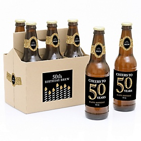 Adult 50th Birthday - Gold - Decorations for Women and Men - 6 Beer Bottle Labels and 1 Carrier - Birthday Gift